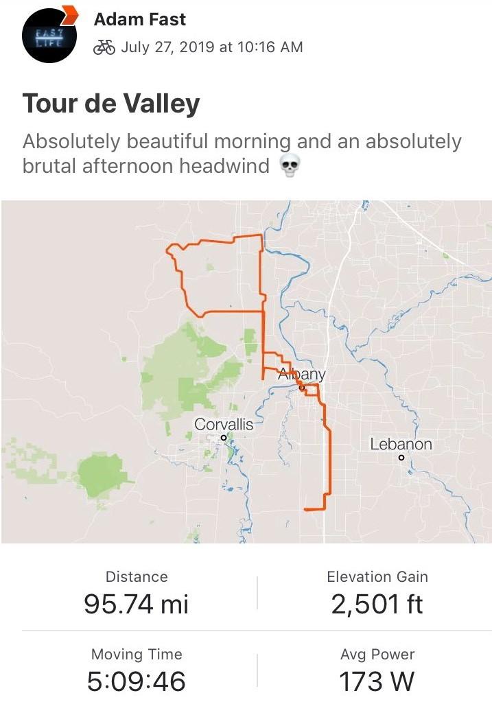 Tour de Valley Ride Data